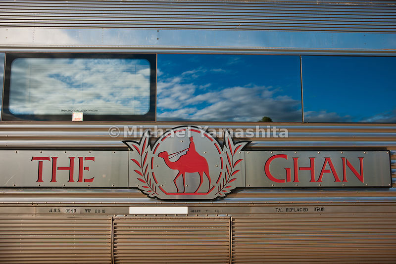 The Ghan, Australia's most famous train, 80 years operating between Adelaide and Darwin cutting the country in half. Takes 3 days, 2nights to travel the 2979km.,acoss the outback.. 3 classes of service: Red, reclining seats; Gold w single and 2 berth cabins; Platinum w luxury suites.. Features 2 dining cars, 2 lounge salon cars. This train almost a km long.