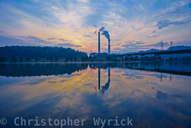 Gorgeous sunrise shot across the Clinch River toward the Bull Run Steam plant.  Gorgeous colors and beautiful reflections make this image perfect for a large print.