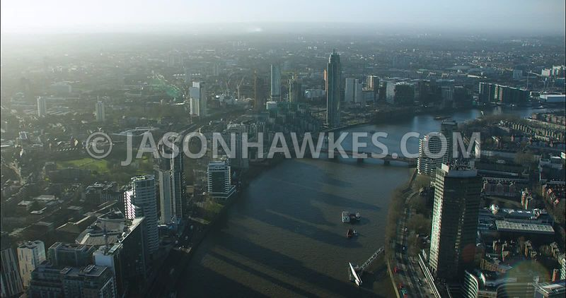 London Aerial footage, River Thames at Lambeth with Lambeth Bridge.