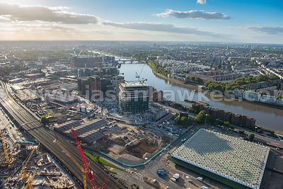 Aerial view of the Nine Elms redevelopment, London