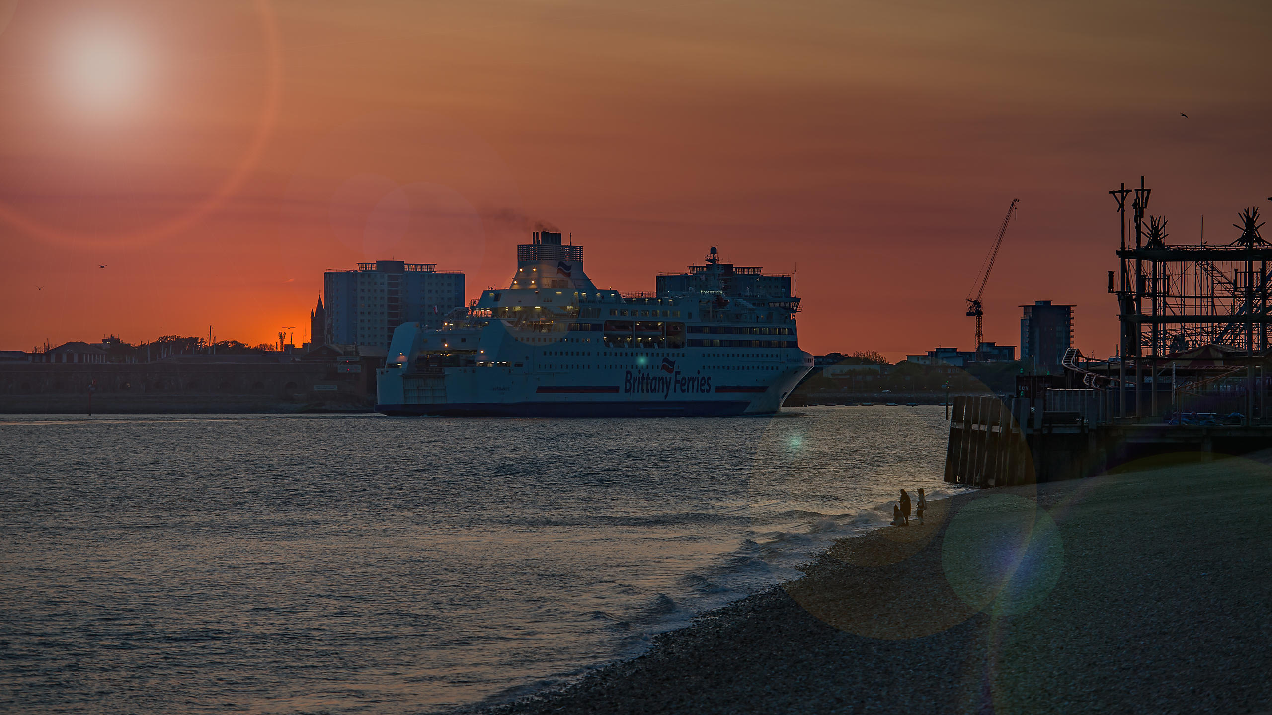 Brittany Ferry enters Portsmouth harbour
