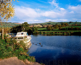 River Avon with Kelston Hill in the distance, Saltford near Bath, Somerset.