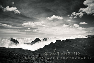 Clouds around the Cathedral Peak range, viewed  from the top of the escarpment