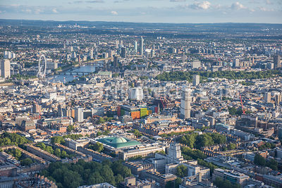 Aerial view, British Museum, Senate House, University of London, Bedford Square Garden, Bloomsbury,  West End, Central Saint Giles. London.