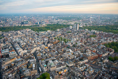 Aerial view of Mayfair, London
