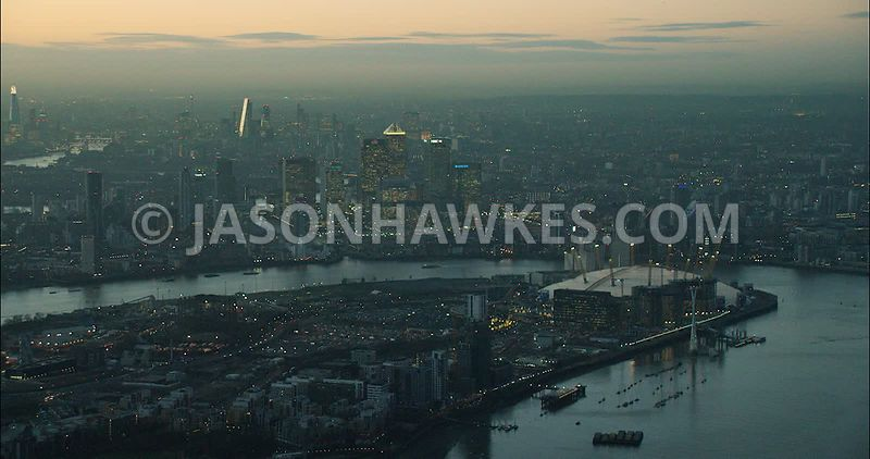 London Aerial Footage of Greenwich Peninsula with Docklands.