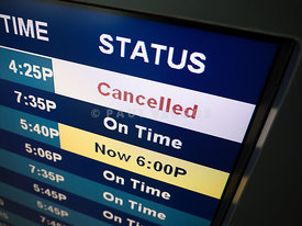 Flight Cancelled on Airport Status Board