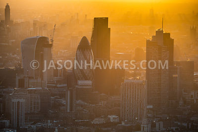 Aerial view of the tower in the City of London. 20 Fenchurch St, 30 St Mary Axe, City of London, Dusk, Heron Tower, Leadendhall Building, Swiss Re Building, Walkie talkie building