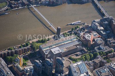 Aerial view of London River Thames and Millennium Bridge