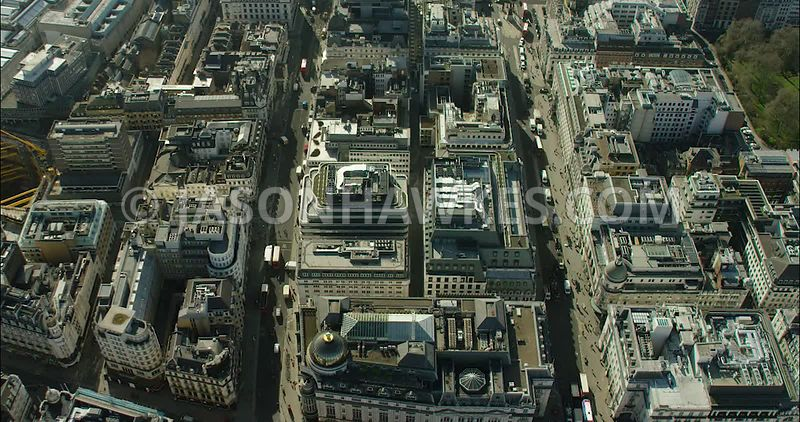 London Aerial Footage of Haymarket and Regent Street.