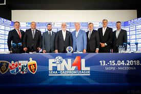 Sinisa Ostoic, Tomislav Grahovac, Boris Sapozhnikov, Alexander Meshkov, Mihajlo Mihajlovski, Michael Wiederer, Bozidar Djurkovic and David Szlezak during the Final Tournament - Closing press conference - Final Four - SEHA - Gazprom league, Skopje, 15.04.2018, Mandatory Credit ©SEHA/ Stanko Gruden