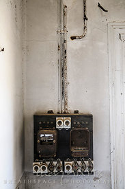 An early 1900's fuse box in an abandoned house in a ghost town