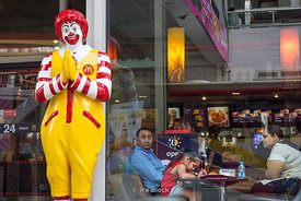 Ronald McDonalds in Thai style at a shopping mall, Amarin Plaza in Bangkok, Thailand.