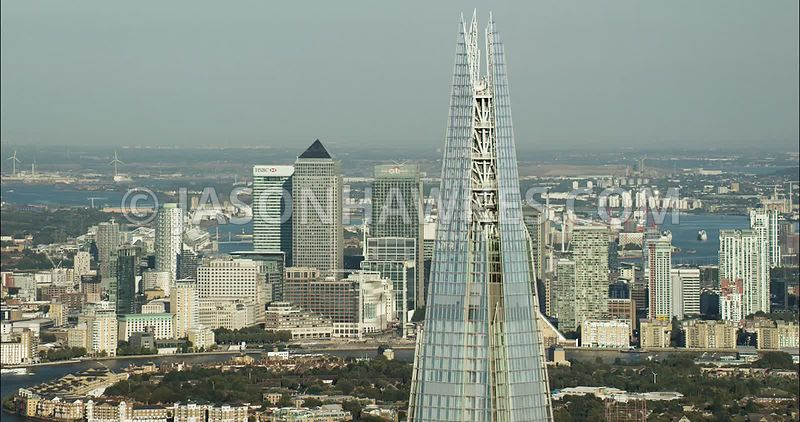London Aerial Footage The Shard with Docklands in the background
