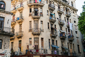 A building with laundry in Havana, Cuba.