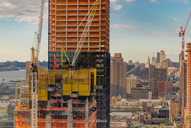 A view of the construction over Hudson Yards in Manhattan, New York City.
