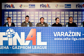 Ljubo VUKIĆ ,Sergey BEBESHKO of Meshkov Brest, Xavi SABATE, Renato SULJIĆ of Veszprem during the Final Tournament - Final Four - SEHA - Gazprom league, press conference, Croatia, 31.03.2016, ..Mandatory Credit ©SEHA/Nebojša Tejić.