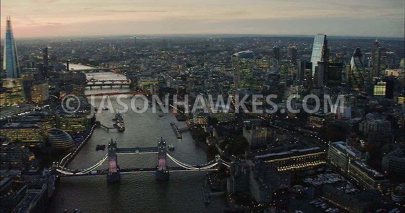 London Aerial Footage of Tower Bridge towards St Katharine Docks.