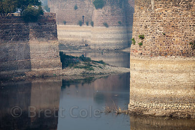 High walls of Lohagarh fort, Bharatpur, Rajasthan, India