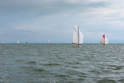 Sailing boats in the 2016 Old Gaffers Association East Coast Race out of Brightlingsea in Essex.