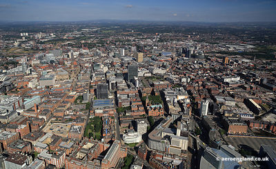 Panoramic aerial photograph of Manchester England UK