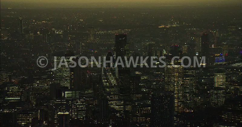 London Aerial Footage of City of London skyscrapers at night.