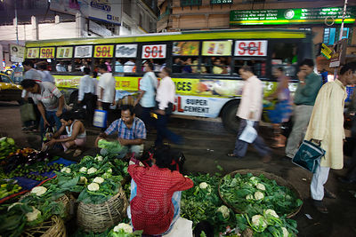 Cauliflower for sale near Kole wholesale vegetable market in Bowbazar, Kolkata, India. Calcuttans eat a lot of cauliflower.