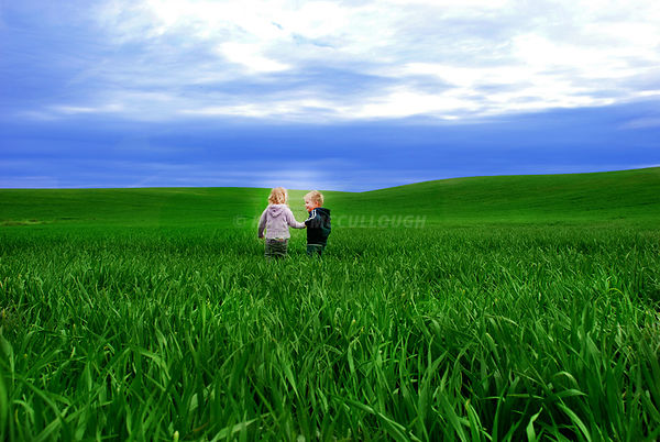 Children holding hands in spring wheat field
