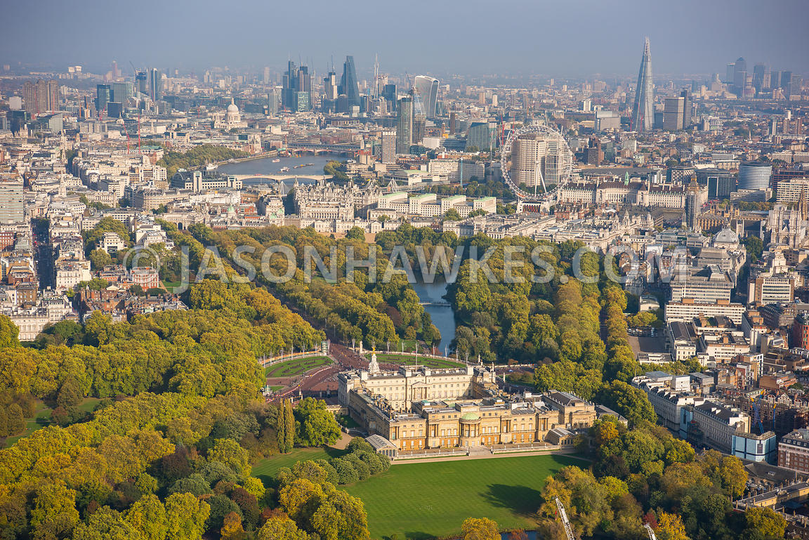 Aerial view of London, St James's Park towards London Eye with The Mall.