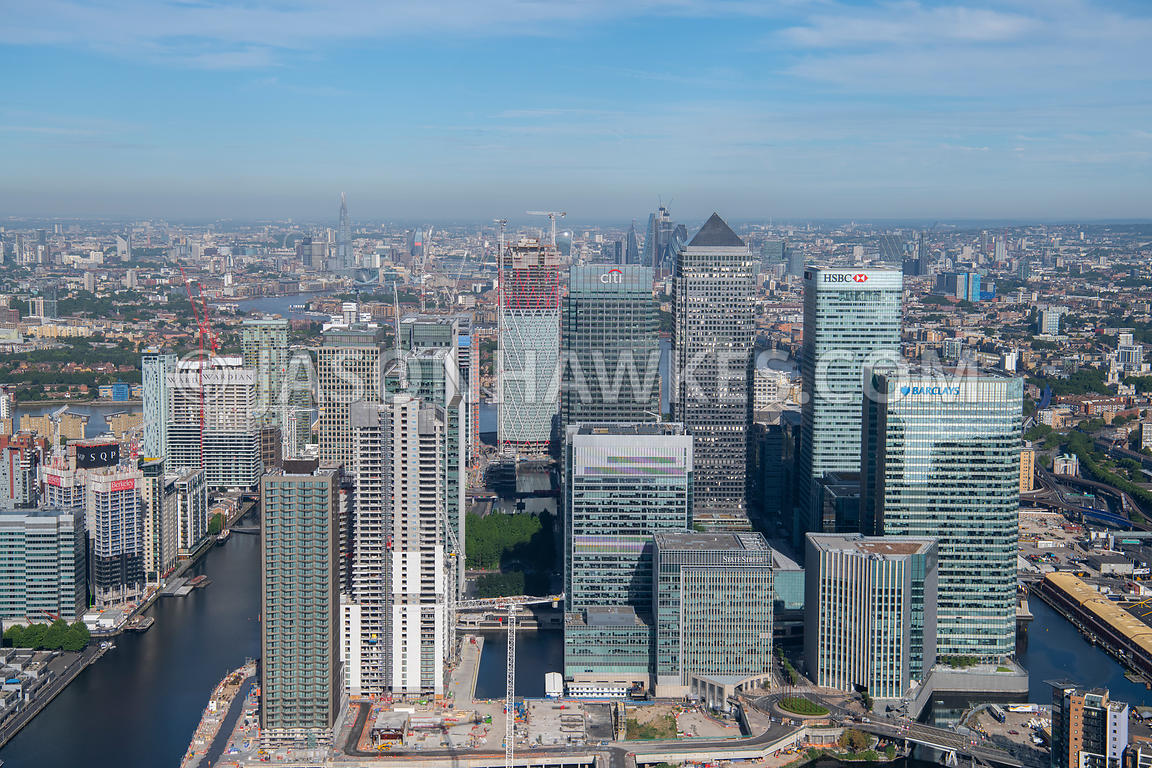 London, aerial view of Canary Wharf