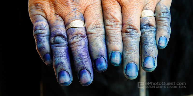 Close Up of Dye-Stained Hands