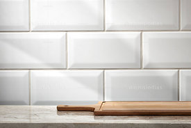 Background of subway flooring Paris base marble and meat board