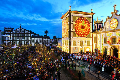 The main church and the procession of the Holy Christ festivities at Ponta Delgada in twilight. São Miguel, Azores islands, Portugal