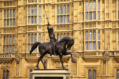 Statue of Richard the Lionheart outside the Houses of Parliament London