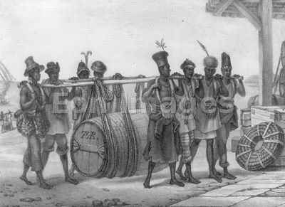 Brazilian slaves transport cask