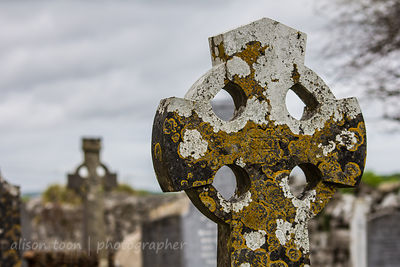 Lichen-covered gravestone