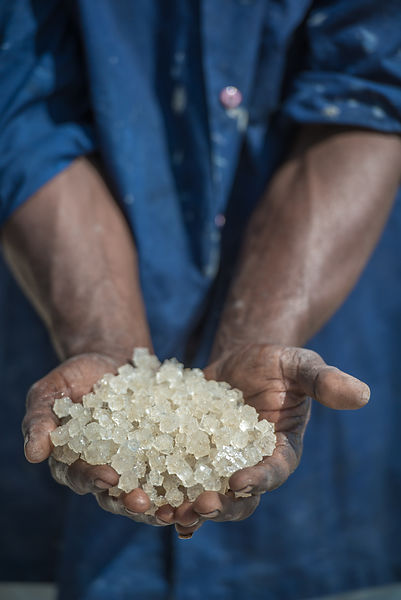 A day in life of a worker in a salt factory