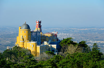 Palácio da Pena, built in the 19th century on the hills above Sintra, in the middle of a UNESCO World Heritage Site. Sintra, Portugal