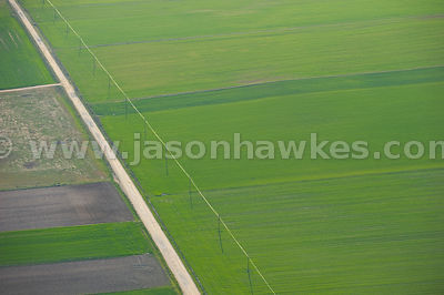 Aerial view of pylons in fields, Wales, United Kingdom