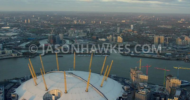 Aerial footage of the O2 Arena and Leamouth Peninsula