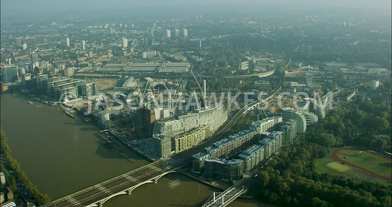 London Aerial Footage of Chelsea Bridge and Battersea Park
