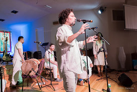 Wache, a Afro-Columbian band, performs for the Austin Friends of Traditional Music Winter Festival