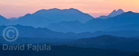 Summer solstice sunset on Serra d'Ensija (Ensija range) and Pedraforca (right). View from Els Munts Sanctuary