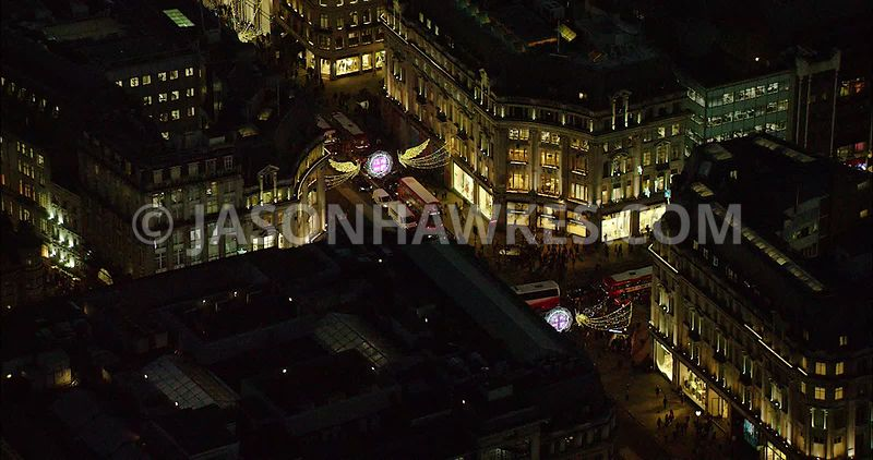 London Aerial Footage of Oxford Circus with Christmas lights.