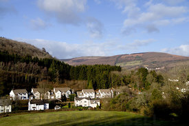 The Village of Draethen on the Rhymney Valley Circular Walk, Caerphilly, South Wales, UK.