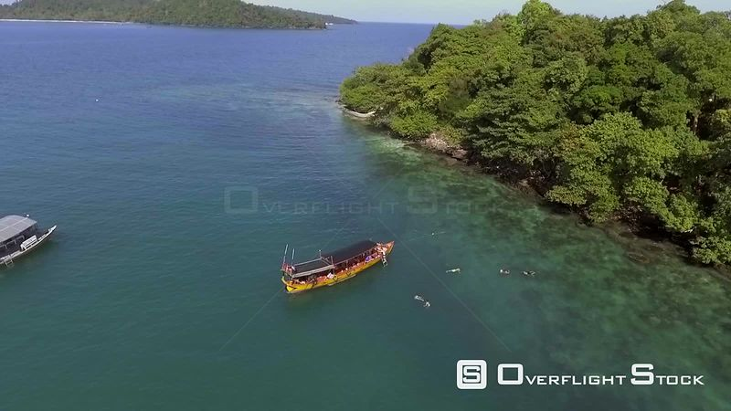 Swimmers Snorkeling in Tropical Paradise of Koh Rong Cambodia