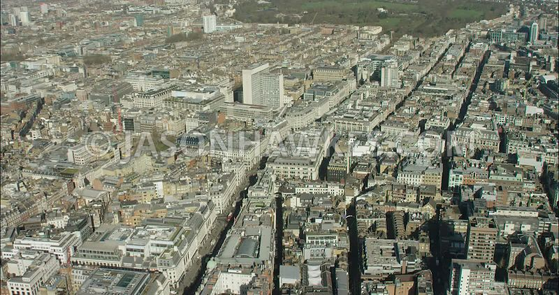 London Aerial Footage of Regent Street with Oxford Circus.