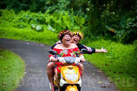 Motorcyle ladies, Rarotoga, Cook Islands
