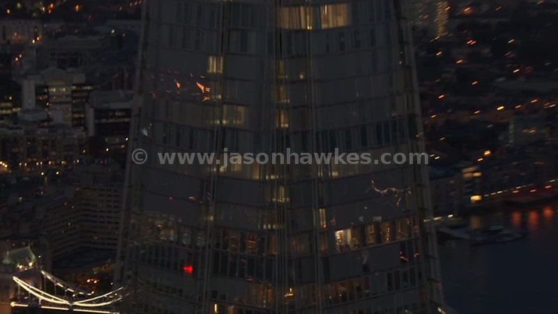 Aerial footage of The Shard at night, London