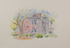 Cyrene Boice House, original watercolor illustration, 16 x 19